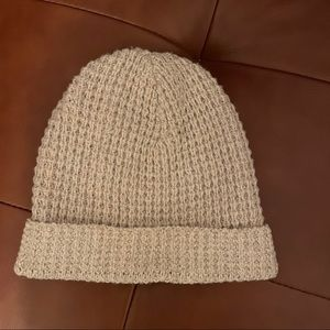 Madewell Supersoft Cream Waffle Knit Slouch Beanie
